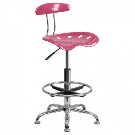 MFO Vibrant Pink and Chrome Drafting Stool with Tractor Seat