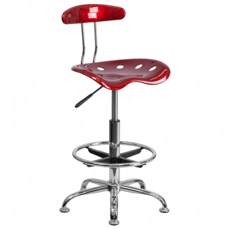 MFO Vibrant Wine Red and Chrome Drafting Stool with Tractor Seat