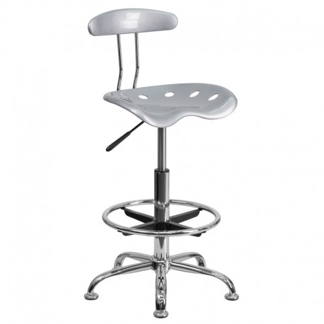 MFO Vibrant Silver and Chrome Drafting Stool with Tractor Seat