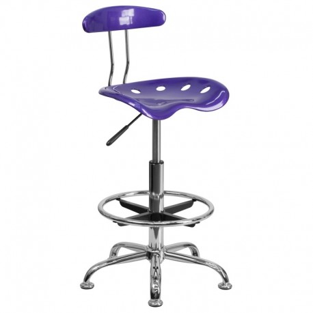 MFO Vibrant Violet and Chrome Drafting Stool with Tractor Seat