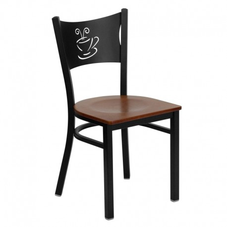 MFO Black Coffee Back Metal Restaurant Chair - Cherry Wood Seat