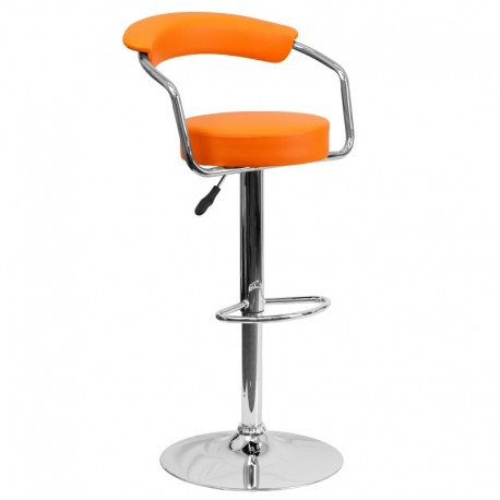 MFO Contemporary Orange Vinyl Adjustable Height Bar Stool with Arms and Chrome Base