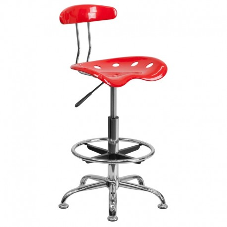 MFO Vibrant Red and Chrome Drafting Stool with Tractor Seat