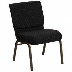 MFO 21'' Extra Wide Black Dot Patterned Fabric Stacking Church Chair with 4'' Thick Seat - Gold Vein Frame
