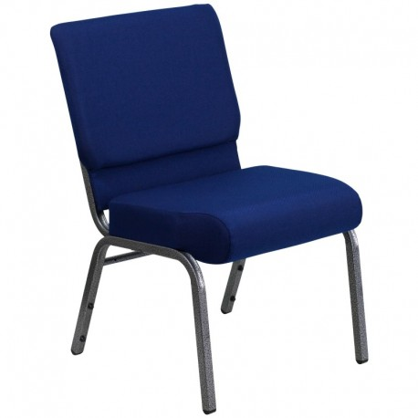 MFO 21'' Extra Wide Navy Blue Fabric Stacking Church Chair with 4'' Thick Seat - Silver Vein Frame