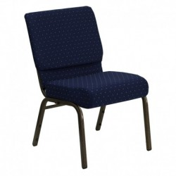 MFO 21'' Extra Wide Navy Blue Dot Patterned Fabric Stacking Church Chair with 4'' Thick Seat - Gold Vein Frame