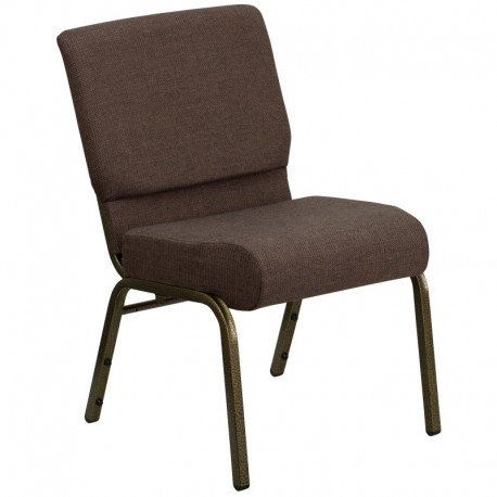 MFO 21'' Extra Wide Brown Fabric Stacking Church Chair with 4'' Thick Seat - Gold Vein Frame