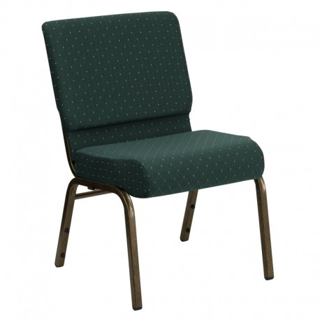 MFO 21'' Extra Wide Hunter Green Dot Patterned Fabric Stacking Church Chair with 4'' Thick Seat - Gold Vein Frame