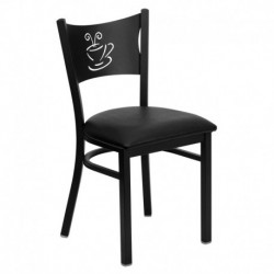 MFO Black Coffee Back Metal Restaurant Chair - Black Vinyl Seat