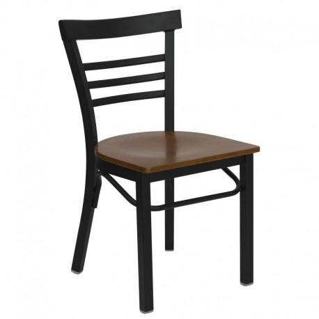 MFO Black Ladder Back Metal Restaurant Chair - Cherry Wood Seat
