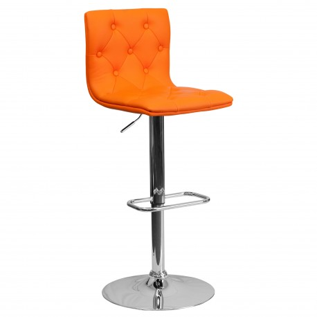 MFO Contemporary Tufted Orange Vinyl Adjustable Height Bar Stool with Chrome Base