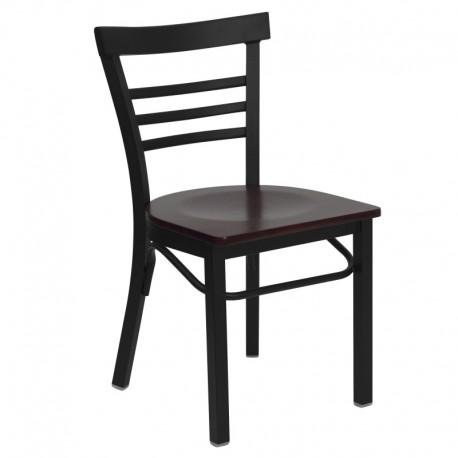 MFO Black Ladder Back Metal Restaurant Chair - Mahogany Wood Seat