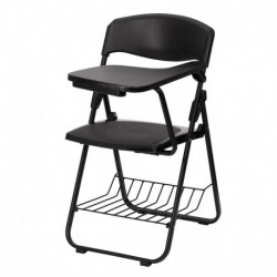 MFO Black Plastic Chair with Left Handed Tablet Arm and Book Basket