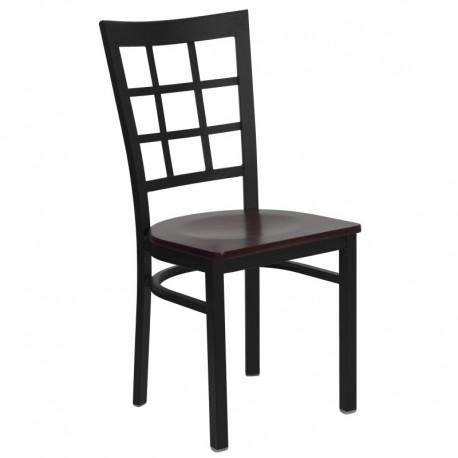 MFO Black Window Back Metal Restaurant Chair - Mahogany Wood Seat