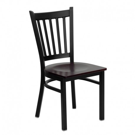 MFO Black Vertical Back Metal Restaurant Chair - Mahogany Wood Seat