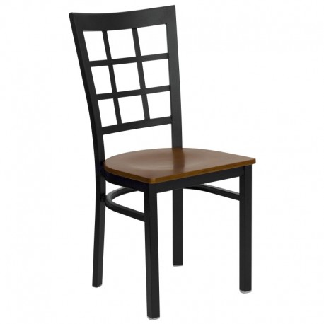 MFO Black Window Back Metal Restaurant Chair - Cherry Wood Seat
