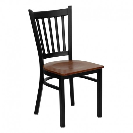 MFO Black Vertical Back Metal Restaurant Chair - Cherry Wood Seat