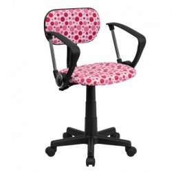 MFO Pink Dot Printed Computer Chair with Arms