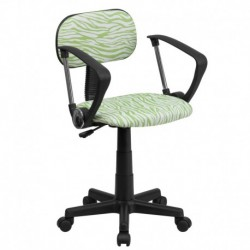 MFO Green and White Zebra Print Computer Chair with Arms