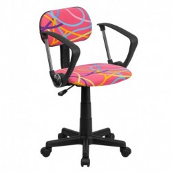 MFO Multi-Colored Swirl Printed Pink Computer Chair with Arms