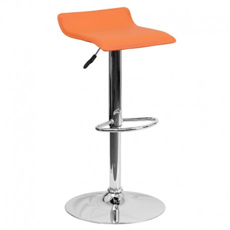 MFO Contemporary Orange Vinyl Adjustable Height Bar Stool with Chrome Base