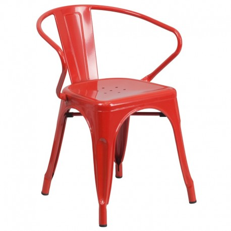 MFO Red Metal Chair with Arms