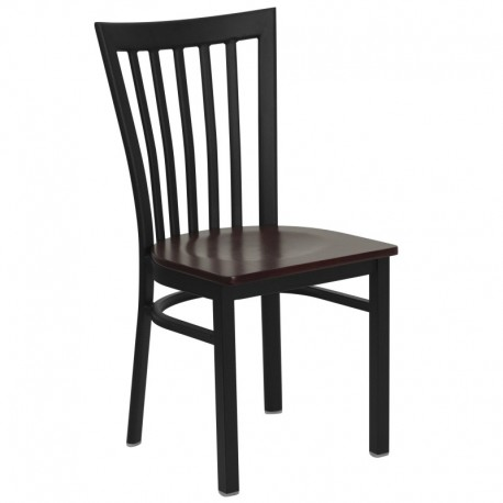 MFO Black School House Back Metal Restaurant Chair - Mahogany Wood Seat