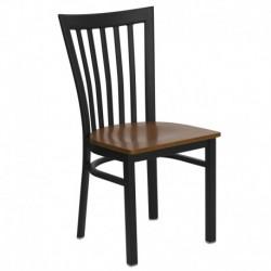 MFO Black School House Back Metal Restaurant Chair - Cherry Wood Seat