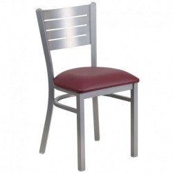 MFO Silver Slat Back Metal Restaurant Chair - Burgundy Vinyl Seat