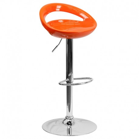 MFO Contemporary Orange Plastic Adjustable Height Bar Stool with Chrome Base