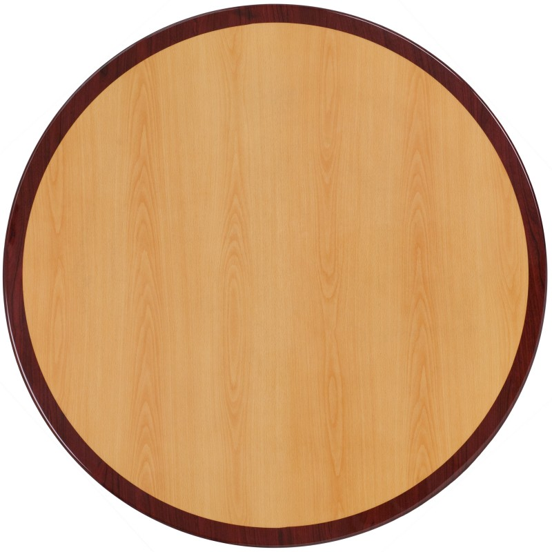 MFO 30u0027u0027 Round Two Tone Resin Cherry And Mahogany Table Top