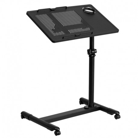 MFO Black Adjustable Height Steel Mobile Computer Desk