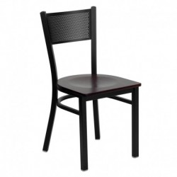 MFO Black Grid Back Metal Restaurant Chair - Mahogany Wood Seat