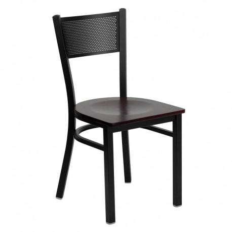 MFO Black Grid Back Metal Restaurant Chair - Mahogany Wood Seat