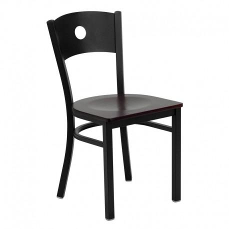 MFO Black Circle Back Metal Restaurant Chair - Mahogany Wood Seat