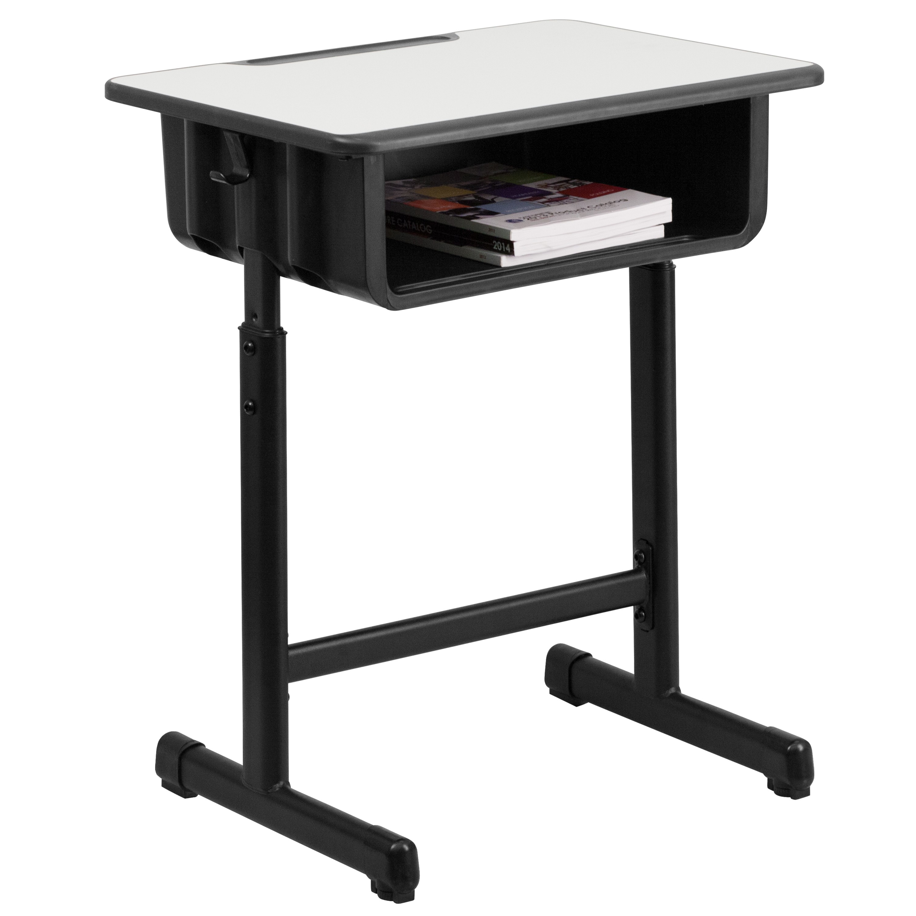 Mfo Student Desk With Grey Top And Adjule Height Black Pedestal Frame