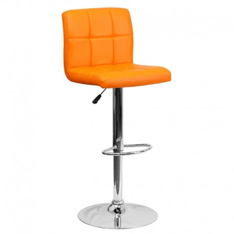 MFO Contemporary Orange Quilted Vinyl Adjustable Height Bar Stool with Chrome Base