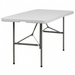 MFO 30''W x 60''L Bi-Fold Granite White Plastic Folding Table
