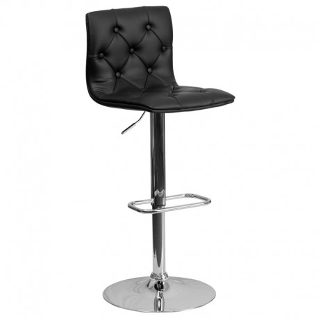 MFO Contemporary Tufted Black Vinyl Adjustable Height Bar Stool with Chrome Base