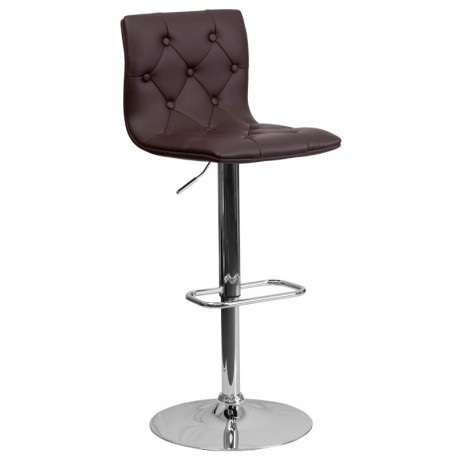 MFO Contemporary Tufted Brown Vinyl Adjustable Height Bar Stool with Chrome Base