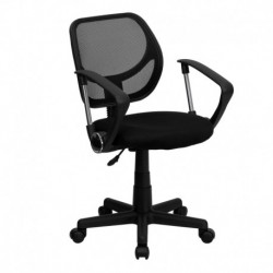 MFO Mid-Back Black Mesh Task Chair and Computer Chair with Arms