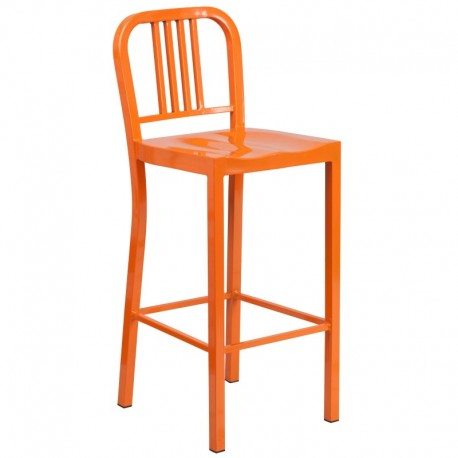 MFO 30'' Orange Metal Bar Stool