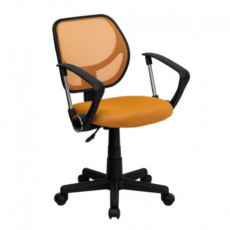 MFO Mid-Back Orange Mesh Task Chair and Computer Chair with Arms