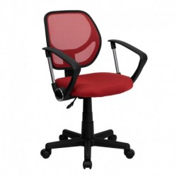 MFO Mid-Back Red Mesh Task Chair and Computer Chair with Arms