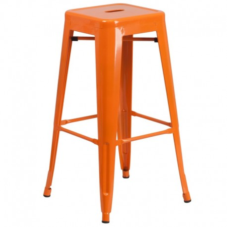 MFO 30'' Backless Orange Metal Bar Stool