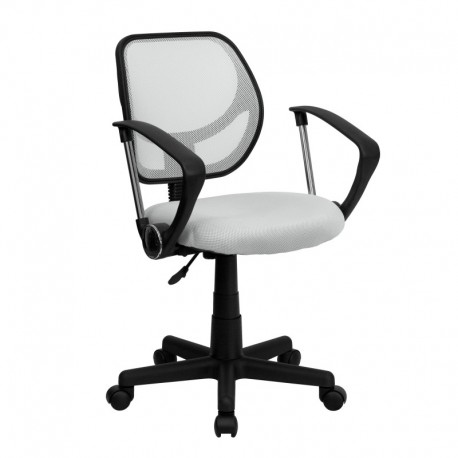 MFO Mid-Back White Mesh Task Chair and Computer Chair with Arms