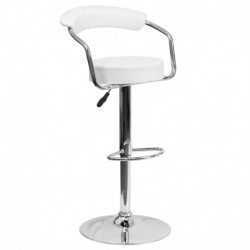 MFO Contemporary White Vinyl Adjustable Height Bar Stool with Arms and Chrome Base