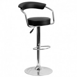 MFO Contemporary Black Vinyl Adjustable Height Bar Stool with Arms and Chrome Base