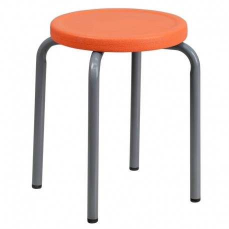 MFO Stackable Stool with Orange Seat and Silver Powder Coated Frame