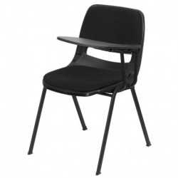 MFO Padded Black Ergonomic Shell Chair with Left Handed Flip-Up Tablet Arm
